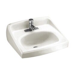 AMERICAN STANDARD 0356.421.020 LUCERNE 15 INCH PORCELAIN WALL MOUNT D-SHAPED SINK IN WHITE FOR WALL HANGER OR CONCEALED ARMS SUPPORT