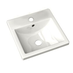AMERICAN STANDARD 0642.001.020 STUDIO CARR? 12-1/2 INCH PORCELAIN SQUARE SELF-RIMMING COUNTERTOP SINK IN WHITE, CENTER HOLE ONLY