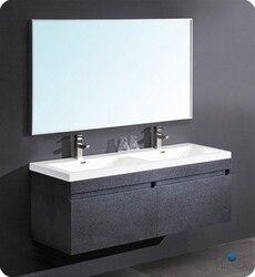 FRESCA FVN8040BW LARGO 56.63 INCH BLACK MODERN BATHROOM VANITY WITH WAVY DOUBLE SINKS
