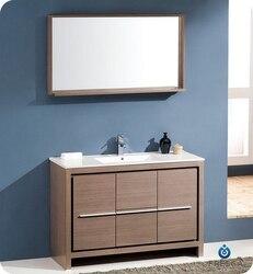 FRESCA FVN8148GO ALLIER 47.25 INCH GRAY OAK MODERN BATHROOM VANITY WITH MIRROR