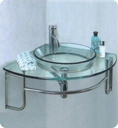 FRESCA FVN1040 ORDINATO 24 INCH CORNER MOUNT MODERN GLASS BATHROOM VANITY