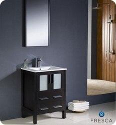 FRESCA FVN6224ES-UNS TORINO 24 INCH ESPRESSO MODERN BATHROOM VANITY WITH UNDERMOUNT SINK