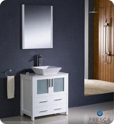 FRESCA FVN6230WH-VSL TORINO 30 INCH WHITE MODERN BATHROOM VANITY WITH VESSEL SINK
