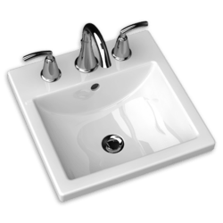 AMERICAN STANDARD 0642.008.020 STUDIO CARR? 12-1/2 INCH PORCELAIN SQUARE SELF-RIMMING COUNTERTOP SINK IN WHITE, 8 INCH CENTER TO CENTER