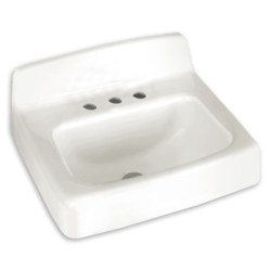 AMERICAN STANDARD 4867.001.020 COMMERCIAL 15 INCH ENAMELED CAST IRON RECTANGULAR SINK IN WHITE, WALL-MOUNT INSTALLATION, CENTER HOLE ONLY