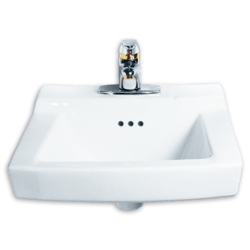 AMERICAN STANDARD 0124.131.020 COMRADE 15 INCH PORCELAIN WALL MOUNT RECTANGULAR SINK IN WHITE, FOR CONCEALED ARMS SUPPORT, 4 INCH CENTER TO CENTER