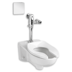 AMERICAN STANDARD 2257.712.020 AFWALL 1.28 GPF TOILET WITH SELECTRONIC EXPOSED AC FLUSH VALVE SYSTEM AND EVERCLEAN