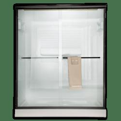 AMERICAN STANDARD AM00390.422 RAIN GLASS EURO FRAMELESS BY-PASS SLIDING SHOWER DOORS FITS 56 TO 60 INCH WIDTH OPENINGS