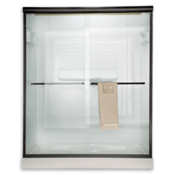 AMERICAN STANDARD AM00394.400 CLEAR GLASS EURO FRAMELESS BY-PASS SLIDING SHOWER DOORS FITS 56 TO 60 INCH WIDTH OPENINGS
