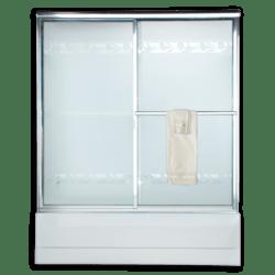 AMERICAN STANDARD AM00725.422 RAIN GLASS PRESTIGE EURO FRAMED BY-PASS SLIDING SHOWER DOORS FITS 54-1/4 TO 56-1/4 INCH WIDTH OPENINGS