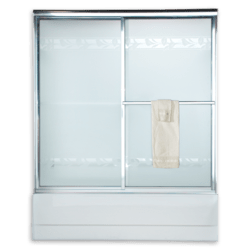 AMERICAN STANDARD AM00750.436 HAMMERED GLASS PRESTIGE EURO FRAMED BY-PASS SLIDING SHOWER DOORS FITS 57-1/2 TO 59-1/2 INCH WIDTH OPENINGS