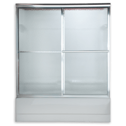 AMERICAN STANDARD AM00753.436 HAMMERED GLASS PRESTIGE EURO FRAMED BY-PASS SLIDING SHOWER DOORS FITS 51 TO 53 INCH WIDTH OPENINGS