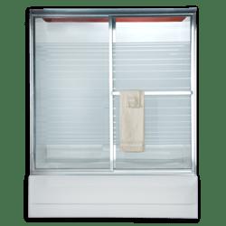 AMERICAN STANDARD AM00775.422 RAIN GLASS PRESTIGE EURO FRAMED BY-PASS SLIDING SHOWER DOORS FITS 46 TO 48 INCH WIDTH OPENINGS