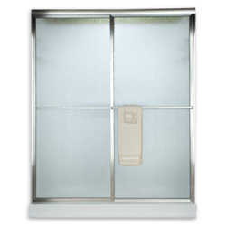 AMERICAN STANDARD AM00790.436 HAMMERED GLASS PRESTIGE EURO FRAMED BY-PASS SLIDING SHOWER DOORS FITS 56 TO 60 INCH WIDTH OPENINGS