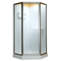 AMERICAN STANDARD AMPQF14.400 CLEAR GLASS NEO ANGLE FRAMED PIVOT SHOWER DOORS FITS 24-7/16 INCH MAXIMUM OPENING