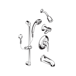 AMERICAN STANDARD 1662.214.002 FLOWISE 1.5 GPM SHOWER SYSTEM KIT WITH HAND SHOWER, SHOWER HEAD AND TUB SPOUT