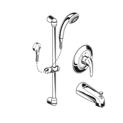 AMERICAN STANDARD 1662.215.002 COMMERCIAL SHOWER SYSTEM WITH HAND SHOWER AND DIVERTER TUB SPOUT, 1.5 GPM