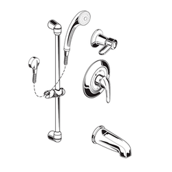 AMERICAN STANDARD 1662.222.002 COMMERCIAL SHOWER SYSTEM WITH TUB SPOUT, 2.5 GPM IN CHROME