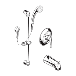 AMERICAN STANDARD 1662.225.002 COMMERCIAL SHOWER SYSTEM WITH DIVERTER TUB SPOUT, 2.5 GPM IN CHROME