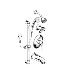 AMERICAN STANDARD 1662.224.002 2.5 GPM SHOWER SYSTEM KIT WITH HAND SHOWER, SHOWERHEAD AND TUB SPOUT