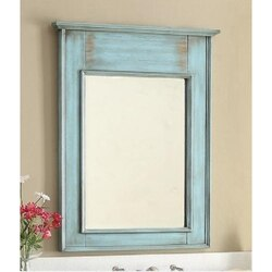 CHANS FURNITURE MR-28885 & MR-28884 ABBEVILLE 30 INCH DISTRESSED BLUE WALL MIRROR