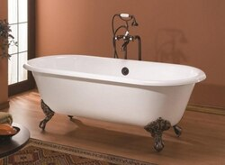 CHEVIOT 2110-BB-6 68 INCH REGAL CAST IRON BATHTUB WITH FLAT AREA FOR FAUCET HOLES IN BISCUIT, 6 INCH DRILLING FAUCET HOLES