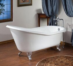 CHEVIOT 2108-WW 61 INCH SLIPPER CAST IRON BATHTUB WITH CONTINUOUS ROLLED RIM IN WHITE