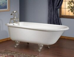 CHEVIOT 2105-WW-8 61 INCH TRADITIONAL CAST IRON BATHTUB WITH FLAT AREA FOR FAUCET HOLES IN WHITE, 8 INCH DRILLING FAUCET HOLES
