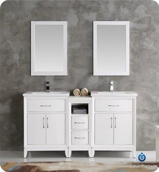 FRESCA FVN21-241224WH CAMBRIDGE 60 INCH WHITE DOUBLE SINK TRADITIONAL BATHROOM VANITY WITH MIRRORS