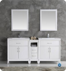 FRESCA FVN21-301230WH CAMBRIDGE 72 INCH WHITE DOUBLE SINK TRADITIONAL BATHROOM VANITY WITH MIRRORS