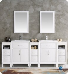 FRESCA FVN21-84WH CAMBRIDGE 84 INCH WHITE DOUBLE SINK TRADITIONAL BATHROOM VANITY WITH MIRRORS