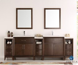 FRESCA FVN21-96AC CAMBRIDGE 96 INCH ANTIQUE COFFEE DOUBLE SINK TRADITIONAL BATHROOM VANITY WITH MIRRORS