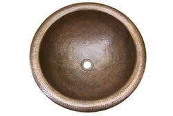 HOUZER HW-AUG1RS HAMMERWERKS 16-3/4 INCH COPPER AUGUST LARGE ROUND LAVATORY SINK