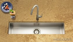 HOUZER CTB-3285 CONTEMPO 32 INCH ZERO RADIUS UNDERMOUNT TROUGH BAR/PREP SINK