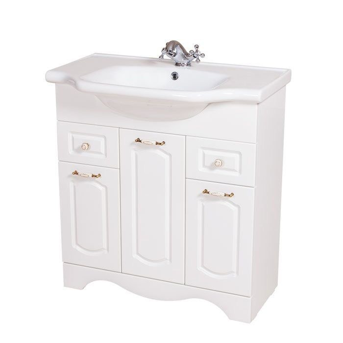 NAMEEKS CLA-F02 CLASSIC 31 INCH WHITE VANITY CABINET WITH FITTED SINK