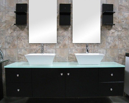 Design Element DEC071A Portland 61 Inch Double Sink - Wall Mount Vanity Set in Espresso