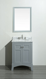 Eviva EVVN514-24GR New York 24 Inch Grey Bathroom Vanity, with White Marble Carrera Counter-top and Sink