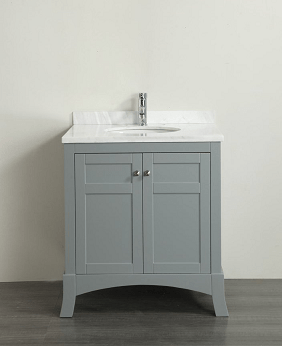 Eviva EVVN514-30GR  New York 30 Inch Grey Bathroom Vanity, with White Marble Carrera Counter-top and Sink