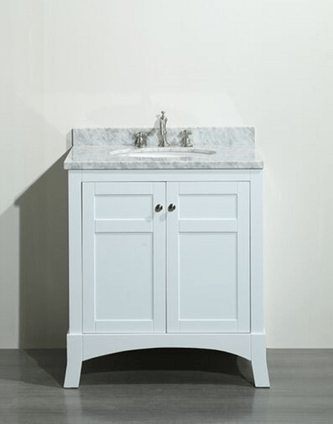 Eviva EVVN514-30WH  New York 30 Inch White Bathroom Vanity, with White Marble Carrera Counter-top and Sink
