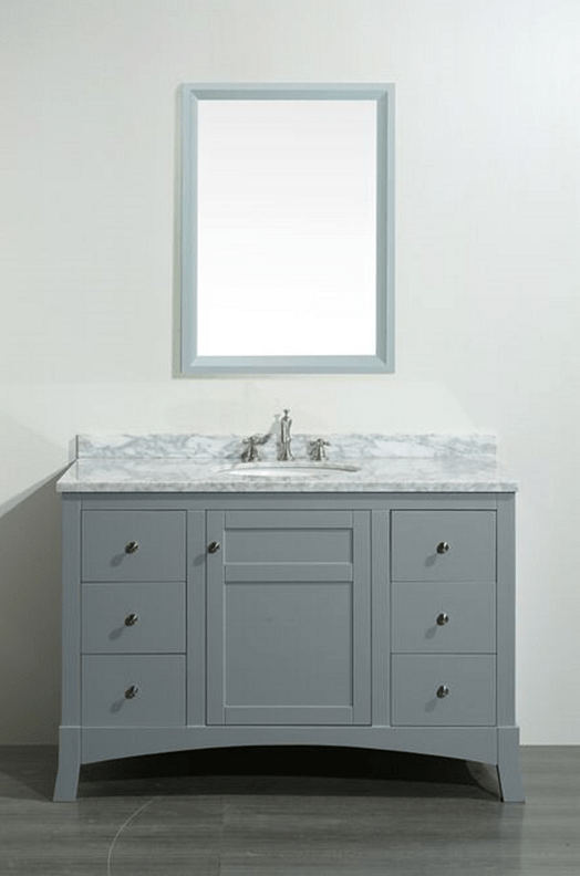 Eviva EVVN514-48GR  New York 48 Inch Grey Bathroom Vanity, with White Marble Carrera Counter-top and Sink