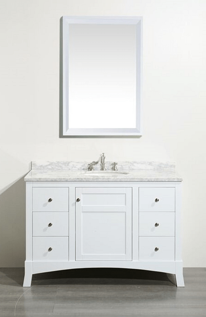 Eviva EVVN514-48WH  New York 48 Inch White Bathroom Vanity, with White Marble Carrera Counter-top and Sink
