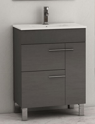 Eviva Evvn521 24gr Cup 24 Inch Grey Modern Bathroom Vanity With White Integrated Porcelain Sink