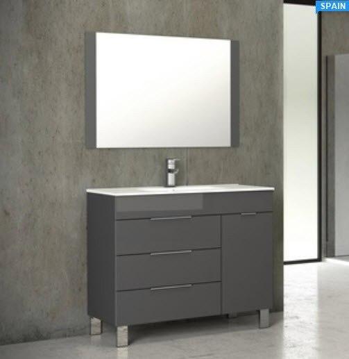 Eviva EVVN530-28GR Geminis 28 Inch Grey Modern Bathroom Vanity with White Integrated Porcelain Sink