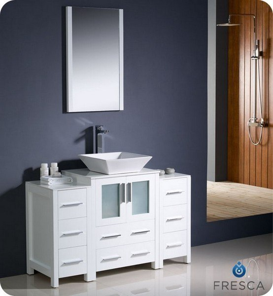 FRESCA FVN62-122412WH-VSL TORINO 48 INCH WHITE MODERN BATHROOM VANITY WITH 2 SIDE CABINETS AND VESSEL SINK