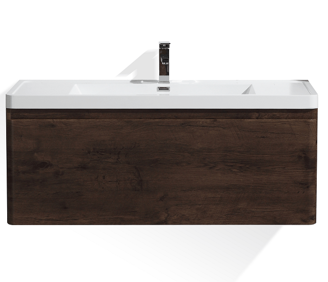 Moreno Bath HA1200S-RW Happy 48 Inch Rosewood Wall Mounted Modern Bathroom Vanity with 2 Drawers and Reinforced Acrylic Sink