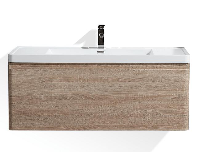 Moreno Bath HA1200S-WO Happy 48 Inch White Oak Wall Mounted Modern Bathroom Vanity with 2 Drawers and Reinforced Acrylic Sink