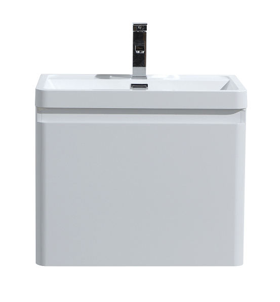 Moreno Bath HA600-GW Happy 24 Inch High Gloss White Wall Mounted Modern Bathroom Vanity with 2 Drawers and Reinforced Acrylic Sink