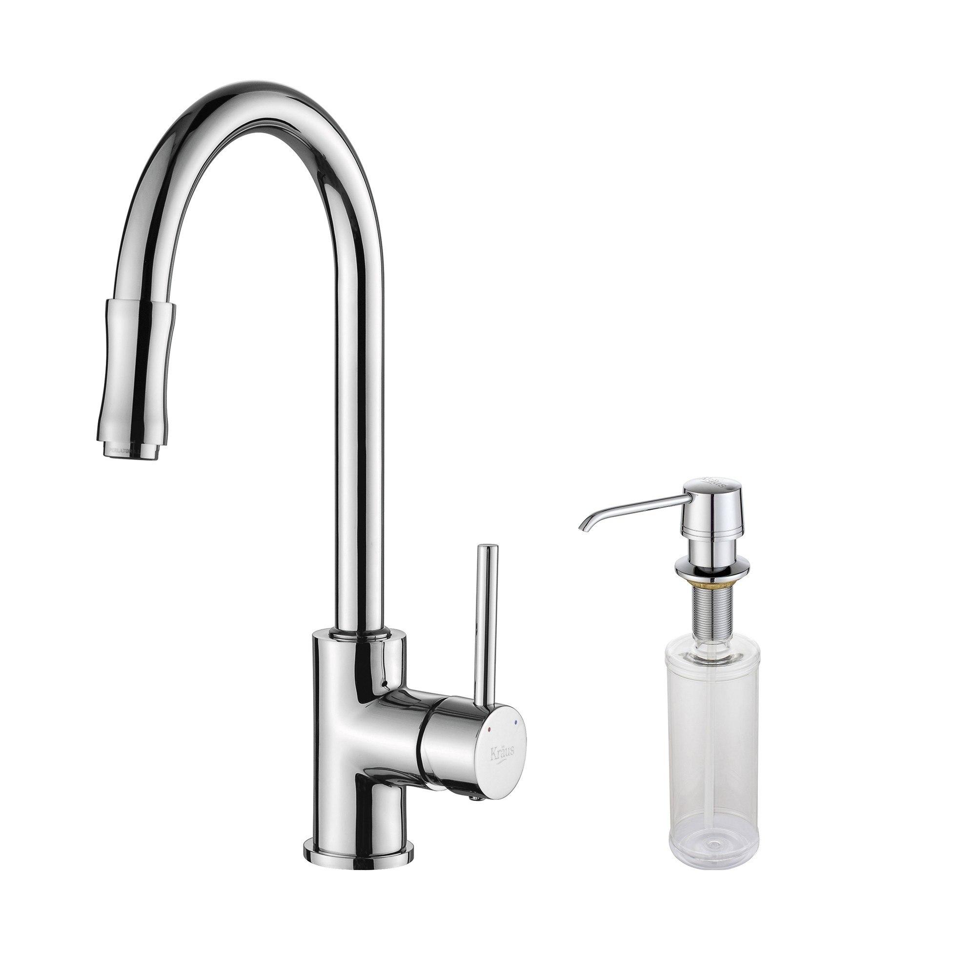 Kraus KPF-1622-KSD-30 Single Lever Pull Out Kitchen Faucet & Soap Dispenser