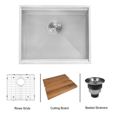 Ruvati RVH8308 Workstation 23 Inch Ledge 16 Gauge Undermount Kitchen Sink Single Bowl