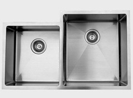 UKINOX RS420.60.40.10R 33 INCH UNDERMOUNT DOUBLE BOWL SINK 10 INCH BOWL DEPTH: RIGHT HAND SIDE